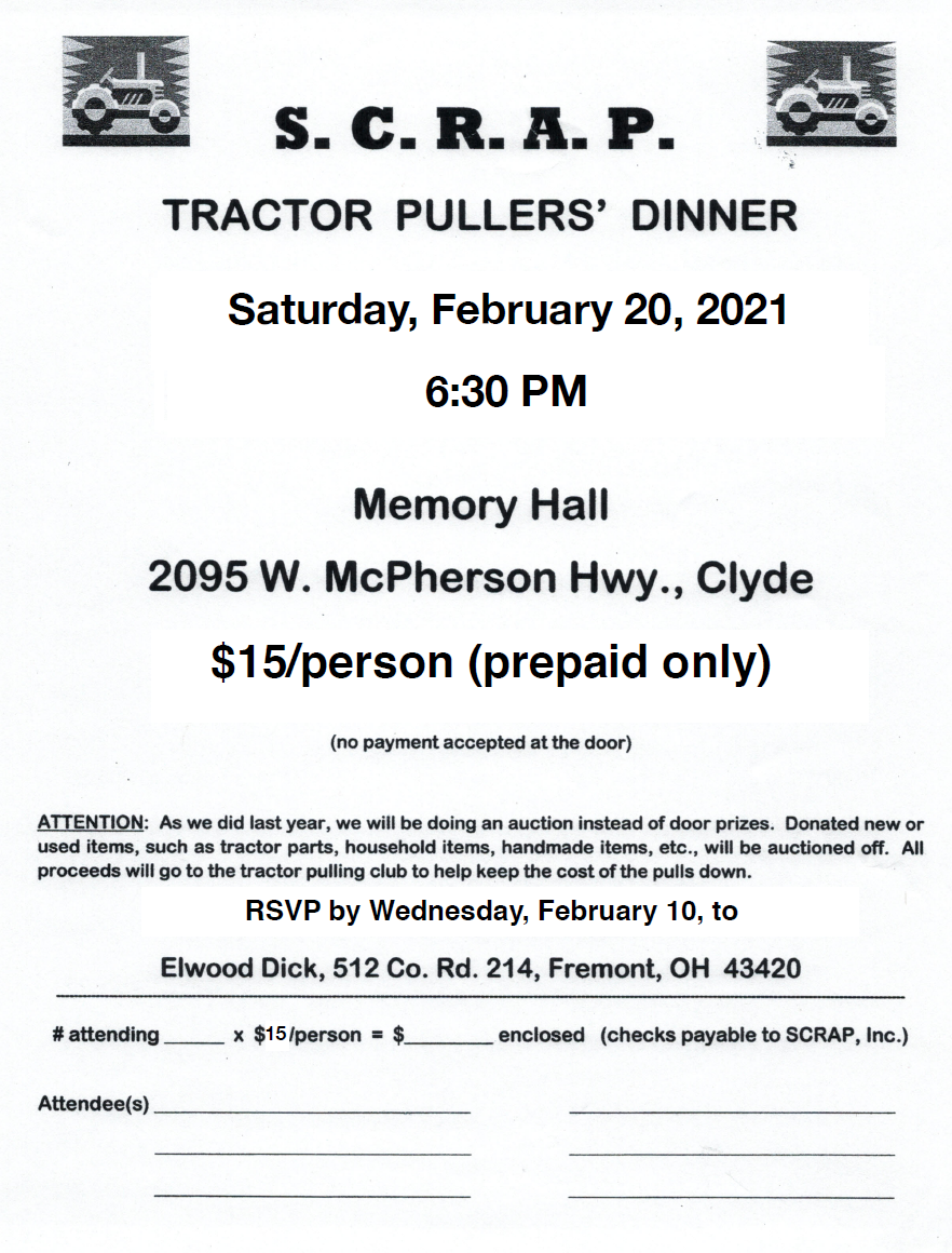 2021 Tractor Pullers Dinner REV 1/31/21